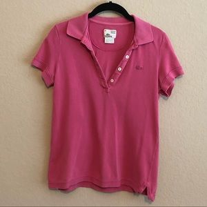 Lacoste vintage wash pink polo